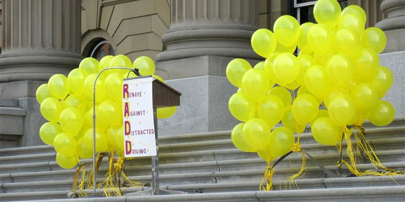 RADD display and podium for speech at the Alberta Legislature